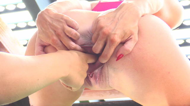 Young Girl Stretching Her Pussy Wide Close Up