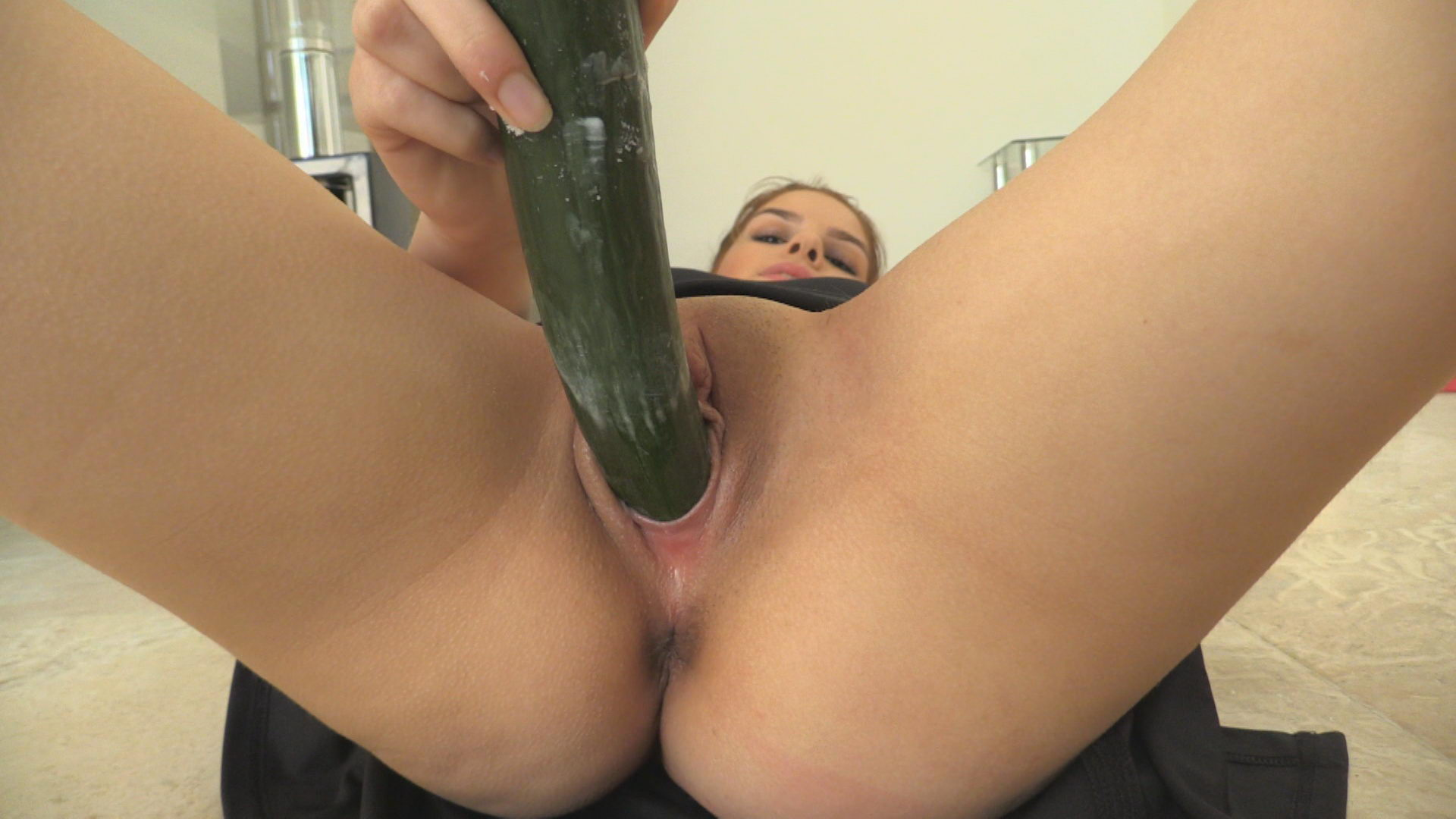 Cucumber in Pussy of Young Girl