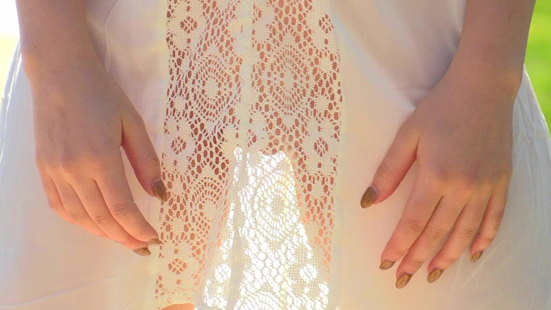 Teen in See-through Dress with no Panties