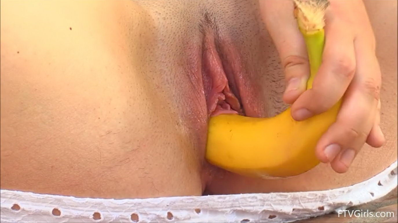Banana in Pussy of a Teen Girl