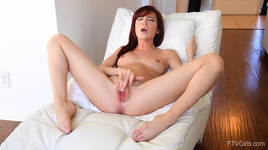 Two brunettes playing with one big white dick 6