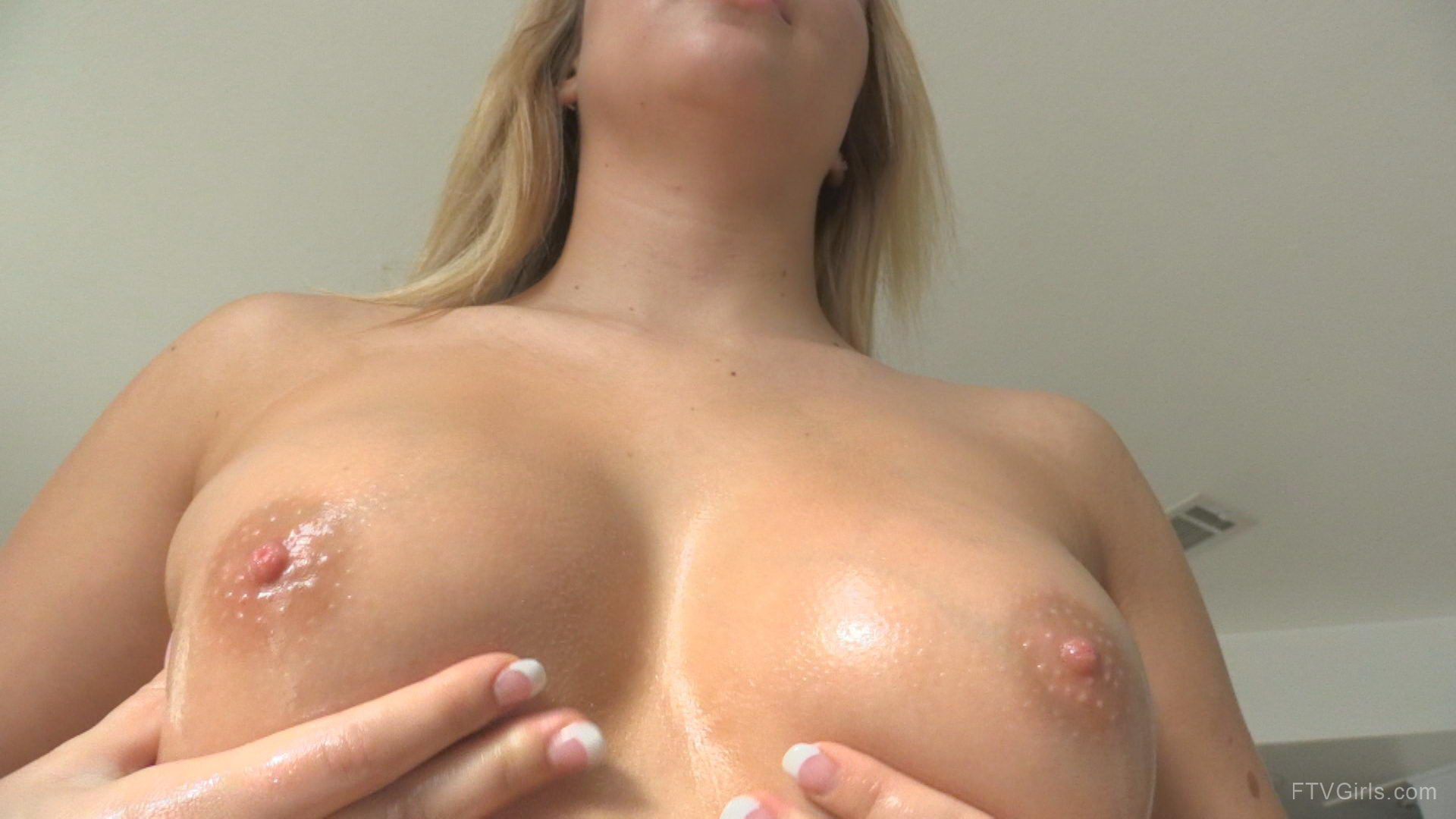 Teen Girl Massaging Her Perfect Naked Boobs